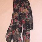 """Scarves Polyester 3 in 1 Black with Pink Flowers 3"""" x 52"""""""
