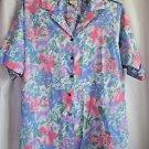 Woman's Blouse Cabrais Size 40/20  Floral Pastels Cotton Blend Short Sleeve USA