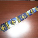 "Masonic Men's Tie  Blues Gold Hand Made Polyester 2 3/4"" x 58"" Masonic Emblem"