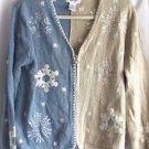 Ugly Christmas Sweater VTG Blue Long Sleeve Cardigan Medi Christopher & Banks