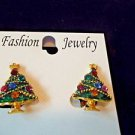 Earrings Clip Christmas Tree Gold Toned Fashion Jewelry