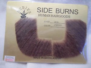 Side Burns Light  Brown Human Hair Professional Theatrical Rubies 2019