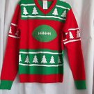 Sweater Ugly Football Holiday Sports Red Green and White Acrylic  Christmas Gift