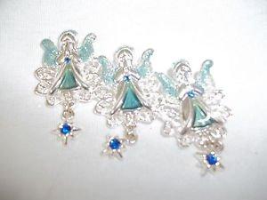 Angels lChristmas Pin Brooch Three Angels Silver Filigree  Blue Stones