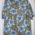 Ocean Pacific Hawaiian Shirt Men's Large Blue Hybicus Cruise Wear