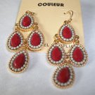 Earrings Fountain Black or Red Carnelian Couleur Fashion