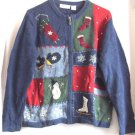 Ugly Chistmas Sweater Long Sleeve  Knit Cardigan Medium Blue Croft & Barrow