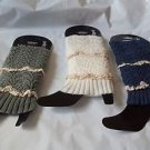 Leg Warmers Knit with Crochet Lace White Blue Grey Gift Quality