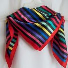 "Scarves Scarf Black with Multi-color Stripes 20"" Square Silk Feel Gift Box"