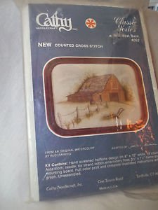 Counted Cross Stitch Kit Mid West Barn with Frame 5 1/2 x 7 1/2 Frame VTG