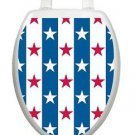 Toilet  Tattoo Stars and Stripes Vinyl Lid Cover Reusable Bathroom  Decoration