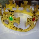 Crown King Queen Jeweled Adjustable Gold Solid Plastic Child or Adult