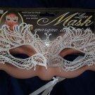Mardi Gras  Eyemask  Lace White Elegant Ribbon Ties Wedding Formal