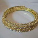 Rhinestone Bracelet Wire Fits All Gold Toned  White Rhinestones