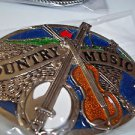 Country Music Guitar Banjo  Belt Buckle Black Silver Tone Enameled