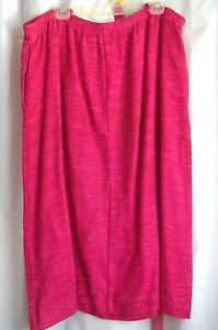 "Woman's Skirt Rose with Belt 40"" Waist Rayon Cotton Flax USA Made Vtg"