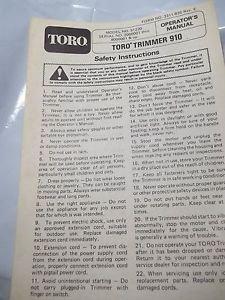 Operator's Manual Toro Trimmer 910