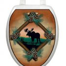 Toilet Tattoos Moose at Sunset Brown    Bathroom Seat Decoration Vinyl Removable