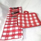 Kitchen Set Towels Hot Pad Red Gingham Checks Polyester Nice Gift