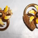 Clip On Earrings Gold Plated Yellow White Flower Vintage