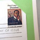 First Day of Issue History Poet Paul Laurence Dunbar  1975 Postal Comm. Soc.