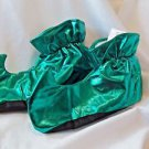 Elf Shoes Green Shiny Polyester Soft Insides Fabric Comfort