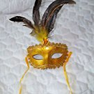 Mardi Gras Feather Mask Gold  Satin Ribbon Gold  Stone  Hand Painted
