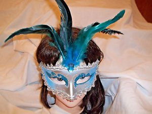 Mardi Gras Feather Mask Silver and Aqua Blue   Satin Ribbon Aqua Stone Painted