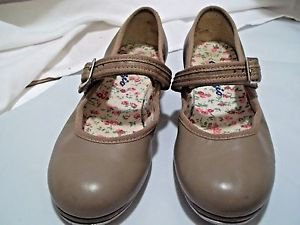 Tap Dancing Shoes Capazio Leather  Child 11 1/2 Narrow Tan Velcro Strap
