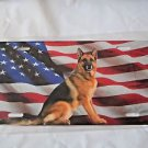 German Shepard and American Flag License Plate Steel