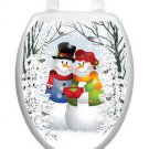 Toilet Tattoos Christmas Toilet Lid Cover Vinyl Cover Snow Couple