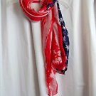 "Scarves American Patriotic Scarf  Shawl Red White Blue 28' X 66"" Soft Polyester"