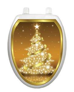 Toilet Tattoos Christmas Toilet Lid Cover Vinyl Cover Golden Tree