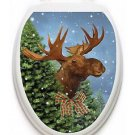 Toilet Tattoos Moose Holiday Toilet Lid Cover Vinyl Cover Merry Moose