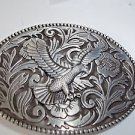 Eagle  Belt Buckle Black Silver Tone Oval Raised Bald Eagle