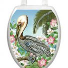 Toilet Tattoos Toilet Seat Lid  Decor Pelican Seat Cover Blue