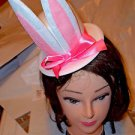 Bunny Hat Headband White Felt Pink Bow Easter Hat