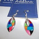 Mosaic Earrings Elipse Fair Trade Handmade Woman Inlaid Stones Mexico