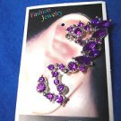 EAR CUFF Earring Silvertone Black Silver Aqua Red Purple Pink Gold