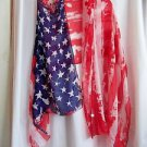 American Flag Patriotic Scarf  Shawl Red White Blue Gift Box