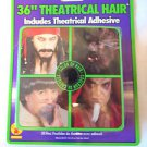 "Crepe Hair 36"" Black Theatrical With Tube of Adhesive NEW"
