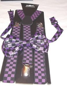 Kit Stylish Bow Tie and Suspender Set Gift Black and Purple  Polyester