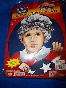 Colonial Lady  Disguise Kit History Betsy Ross Kit Heroes  Hat Wig Flag Forum