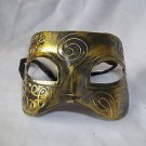 Eye Mask Men's  Burnished Antique Gold Venetian Mardi Gras Masquerade Party Ball