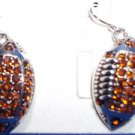 Earrings Football Fashion Jewelry Pierced Topaz Crystal French Wire NEW