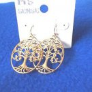 Earrings Tree of Life Gold Tone Oval French Hook Drop