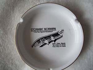 "Smokers Tray  Piano Stormin Norman  Round 4 3/4"" White and Gold"