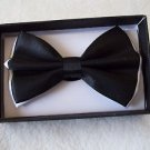 Bow Tie White Under  Black   Adjusts Clip and Hook Polyester Gift Box