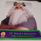 """Beard and Mustache White 14"""" Santa Old Man Wizard School Plays  NEW"""