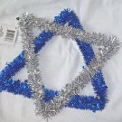 Jewish  Star Blue and Silver Tinsel  Window Hanger 15""